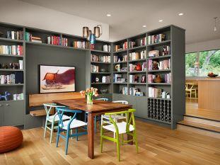 rooom with bookshelves